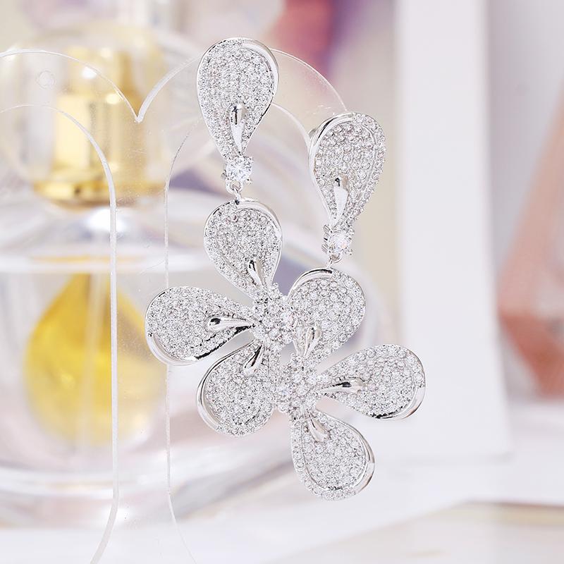 оптовые Trendy розового золота покрытие листьев падение серьга для женщин Свадебного Кубического циркона CZ Дубайского Люкса серьги