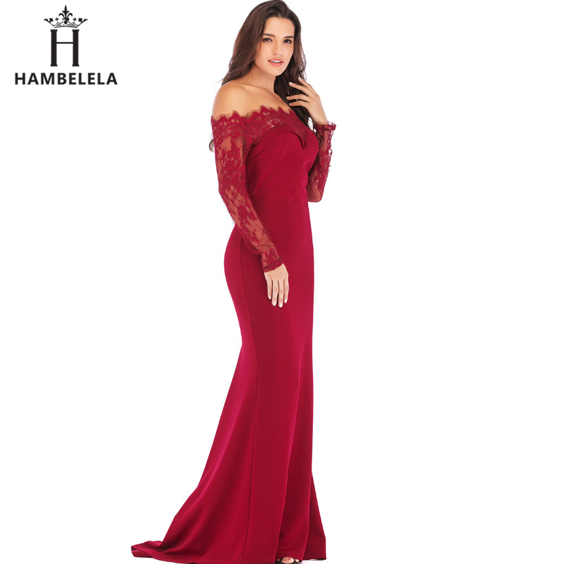 HAMBELELA Robe De Soiree Longue Long Sleeve Mermaid Evening Dresses Formal Evening Gowns China Vestido Longo Bodycon Lace Dress (6)