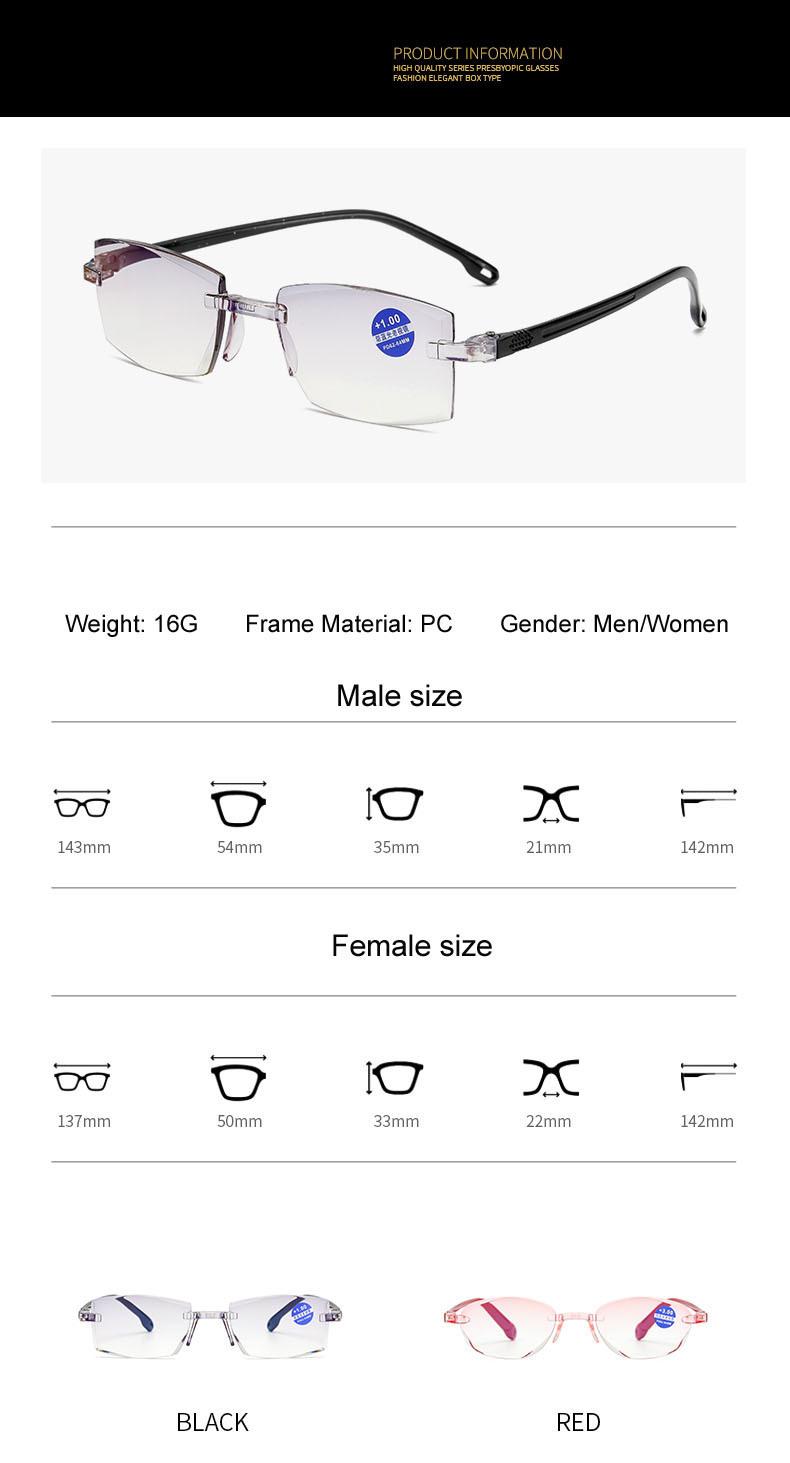Diamante sin montura recorte gafas de lectura + 1.0 +1.50 +2.0 +2.50 +3.0 +4.0 para hombres mujeres ancianos contra azul luz de lectura de vidrio