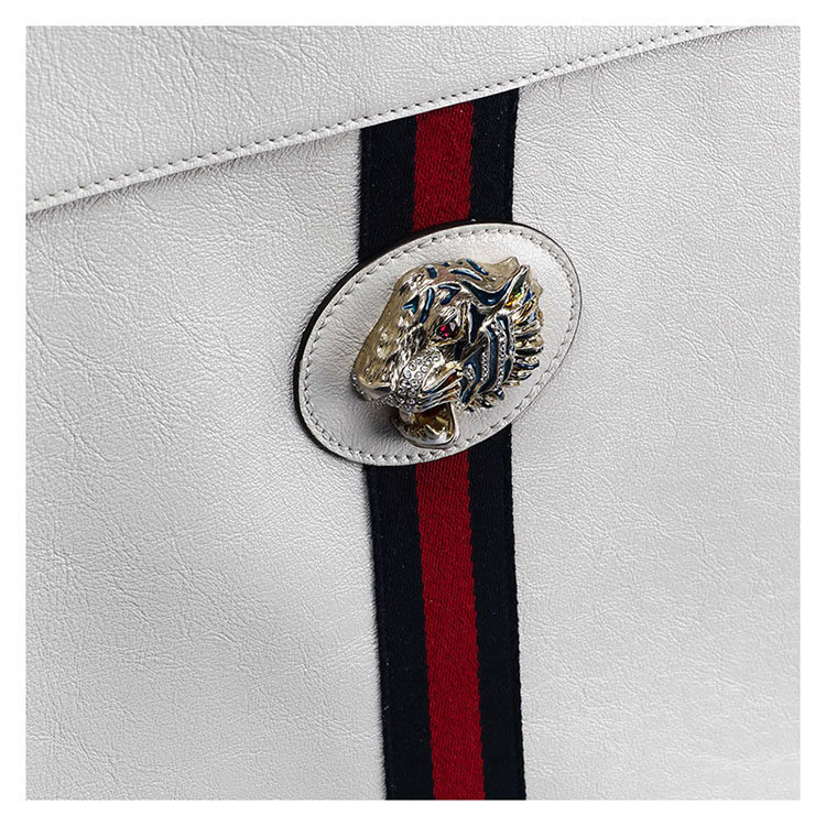 /  19 spring and summer classic red and green striped shoulder bag female square bag GG LOGO white handbag 537218/0OLHX_8406 M