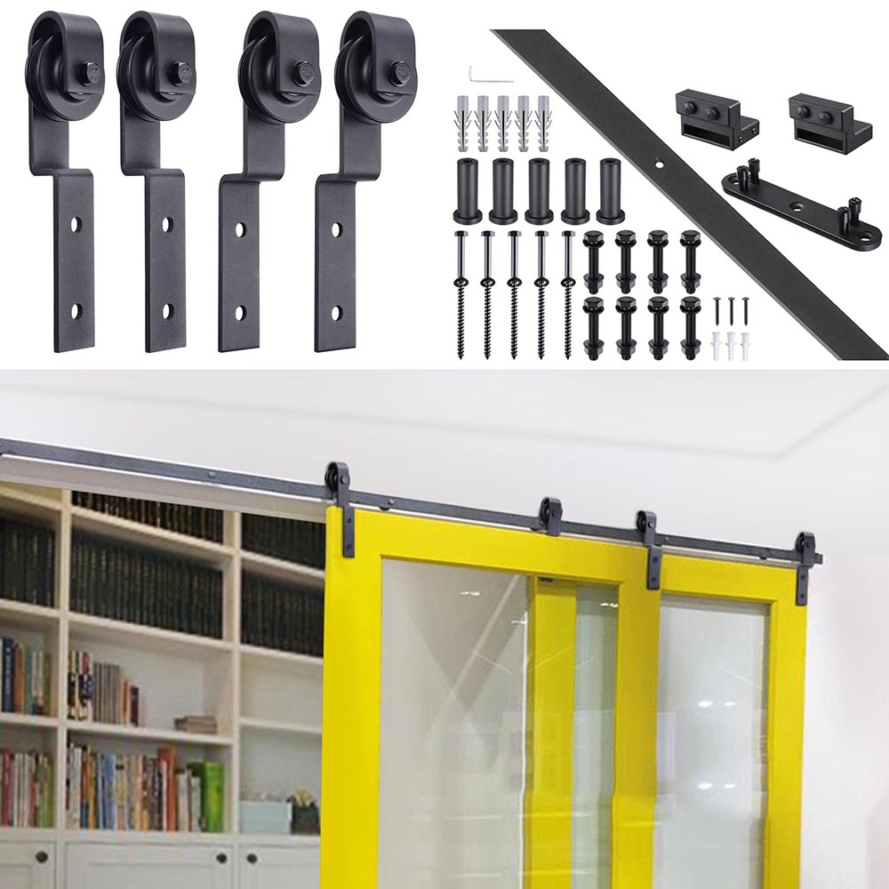 Fdit 8 Wheels Door Track Pulley Hanging Wheel Sliding Door Floor Track Track Roller Sliding Door Roller Set Caster Sliding Barn Door Wheel Kit Barn Door Sliding Pulley