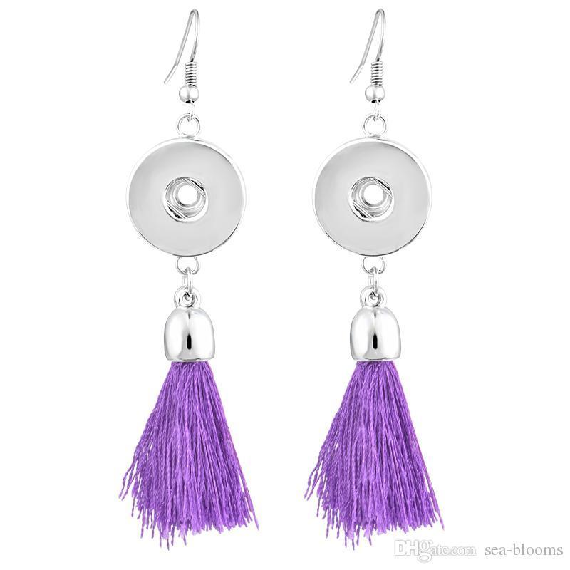 Noosa Earrings Round Pink Blue Black Dark Purple Red Orange Tassels Dangle Snap Buttons Earrings 6 Styles Fits DIY Snap Buttons N509Q