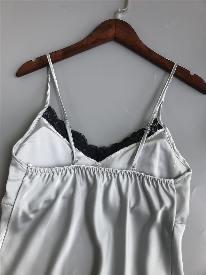 Queenral Pajama Sets For Women Summer Silk Satin Pijama Lingerie Sexy Pyjamas Women Nightie With Chest Pad Femme Pajama Shorts 1 (1)
