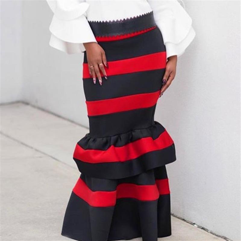 2019 Jupe De Mode Femmes Rouge Noir Patchwork Jupe Taille Haute Maxi Longue Fermeture Éclair Mince Été Jupe Saias Classe Femme Partie Faldas Y19072001