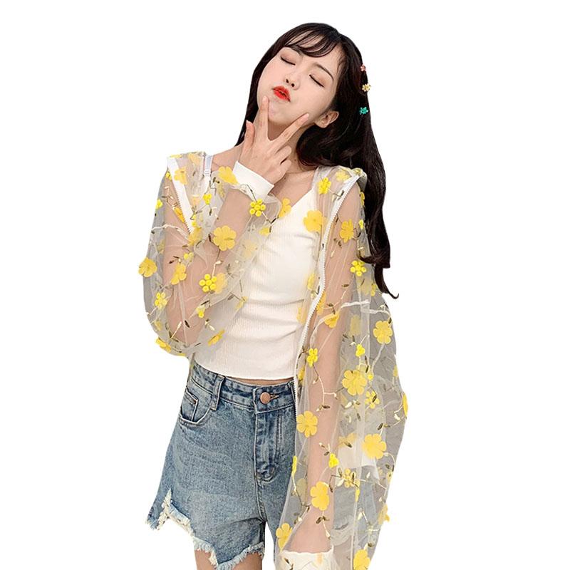 Style coréen été Cover Up Beach Blouse Femmes Mesh Top Fairy Sweet Floral manches longues Adolescente Jaune Cardigan Chemises Rose
