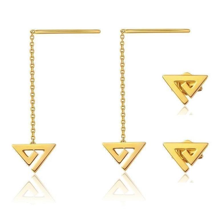 Simple wire geometry triangle Stud Earrings