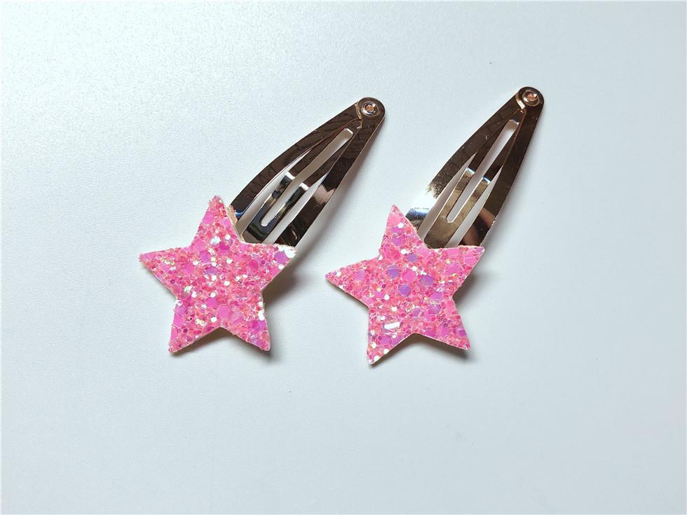 Wholesale Boutique ins Fashion Cute Glitter Star Snap Clips Cartoon Barrettes Princess Headwear Hair Accessories