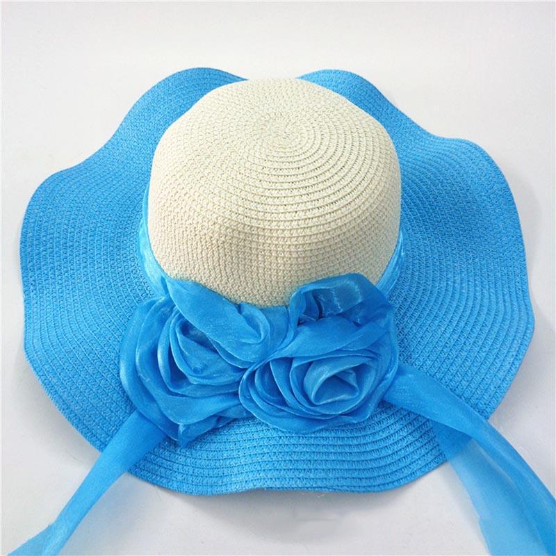 Fashion Straw Hat Flower Ribbon Summer Beach Wide Brim Fisherman Sunscreen Folding Hand Made Casual Wave Girls Hats CP0238 (5)