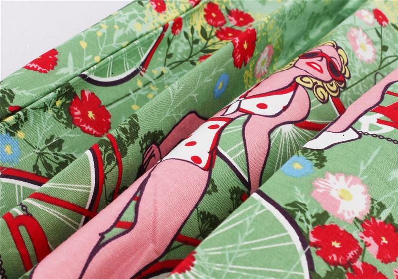 Kostlish Retro Print Flower Summer Skirts Womens High Waist Vintage Skirt Elegant A-Line Midi Women Skirt Plus Size XXL 22 (52)