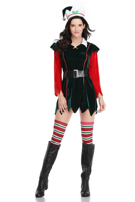 LADIES ELF COSTUME SANTAS HELPER ADULT STRIPED TIGHTS XMAS CHRISTMAS FANCY DRESS