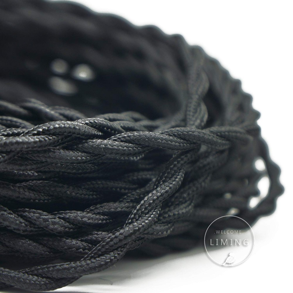 50 Feet Twisted Cloth Covered Wire 2-Conductor 18-Gauge Fabric Electrical Cord Cable,DIY Lamp strands Textile Electrical Wire