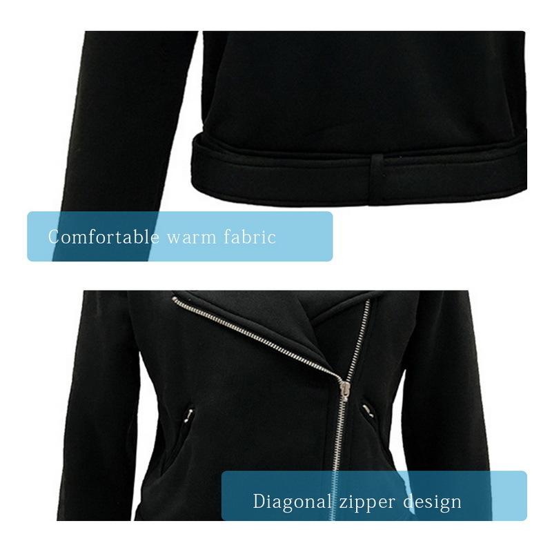 Güzel Kadınlar Motosiklet Ceket Çapraz Fermuar Tasarım Kısa Ceket Femal Yaka Sürme Yarış Ceketler Moto Siyah Dış Giyim Bisikle ...