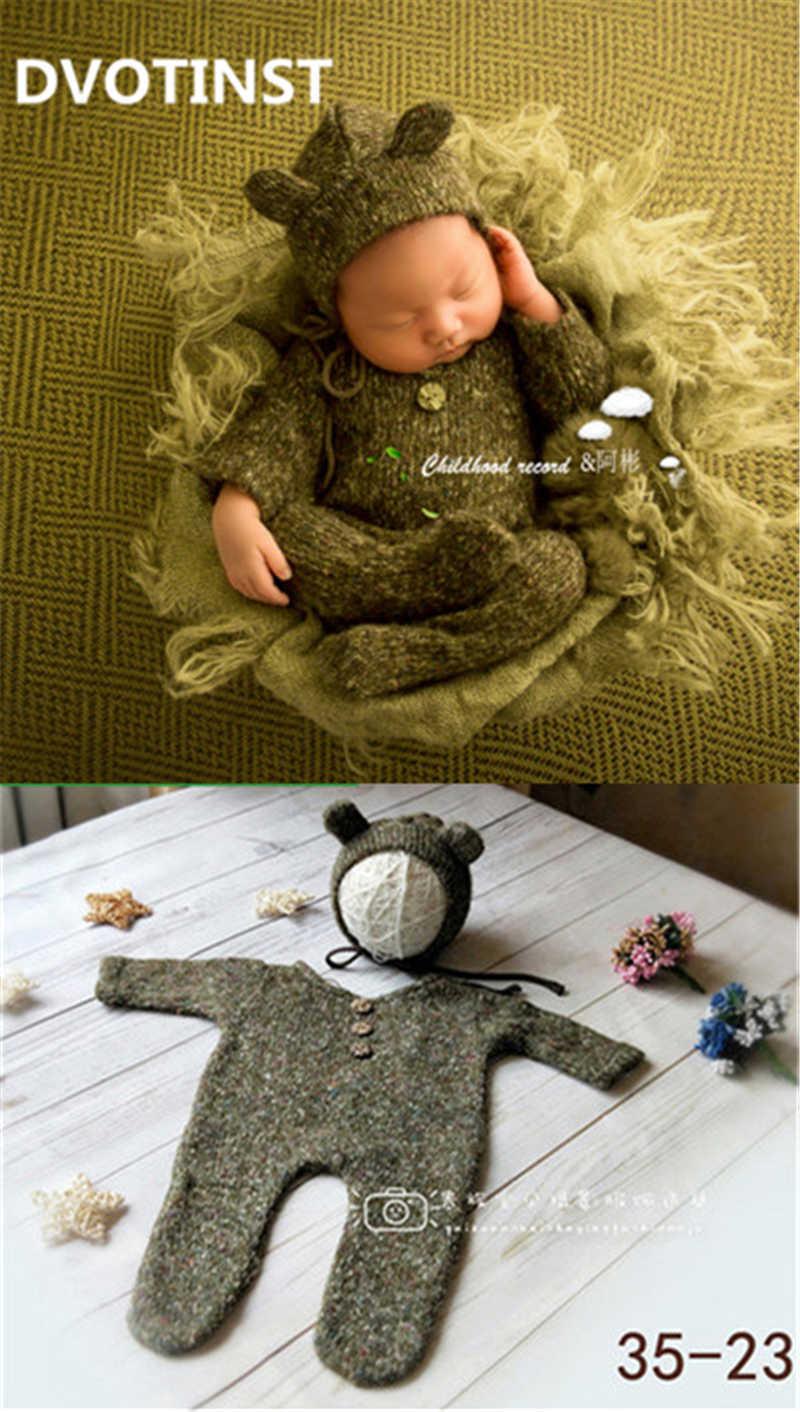 Dvotinst Newborn Baby Photography Props Knit Crochet Romper+hat Set Fotografia Accessory Infant Toddler Studio Shoot Photo J190522