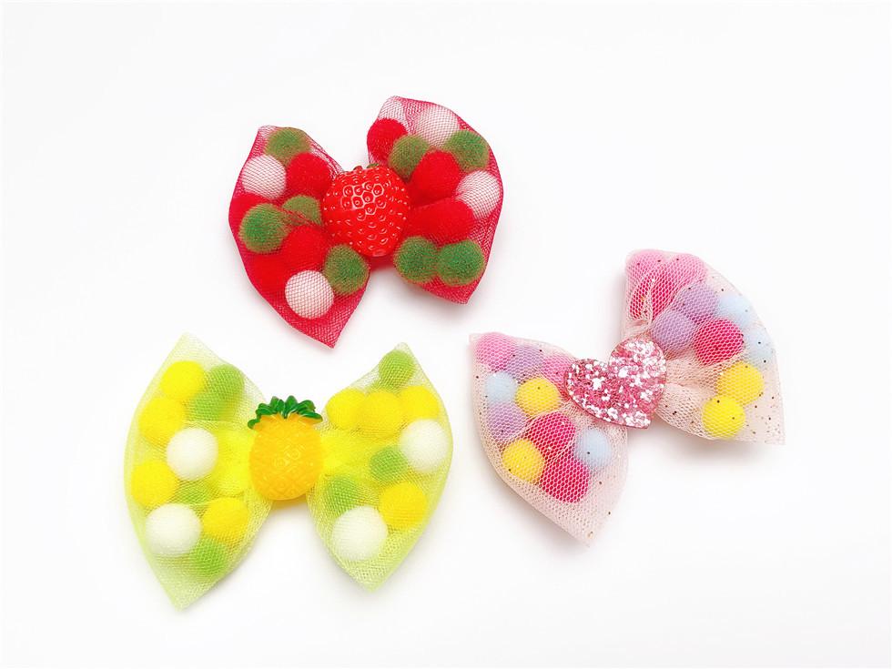 Boutique ins Fashion Cute Glitter Heart Bow Hairpins Solid Color Pom Pom Ball Cartoon Bowknot Hair Clips Princess Headwear
