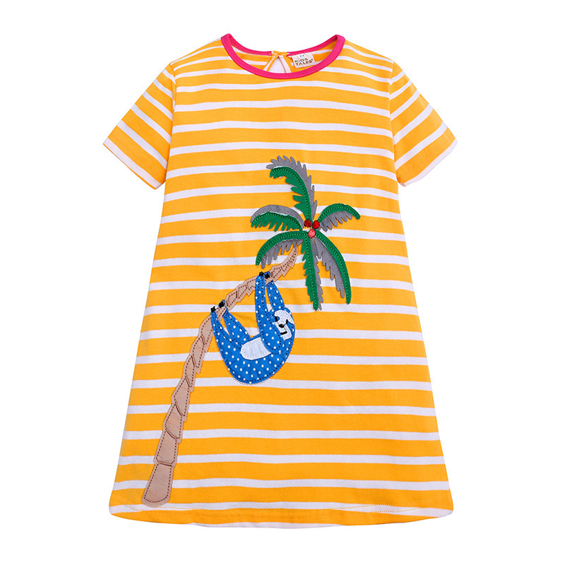 short sleeve stripe girls dress cotton summer kids girl dresses 2019 toddler clothes yellow costume o-neck a line 2 to 6 years