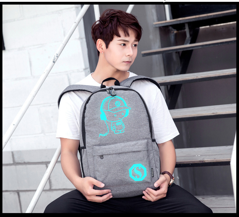 Student School Bag School Backpack For Boy Girl Daypack Multifunction Usb Charging Port And Lock School Bag Black