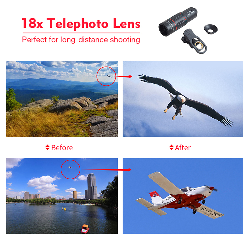TOKOHANSUN Telefon Camera Lens universal 18X Telescope Zoom telescope Mobile Phone Lens for iPhone Xiaomi Honor Smartphones