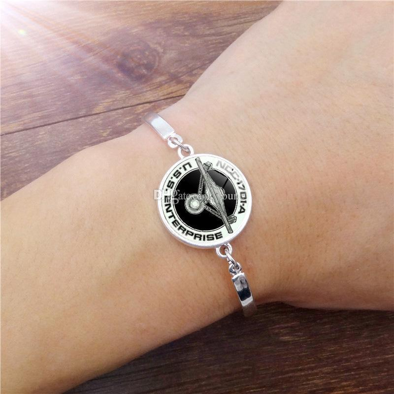 Famous Brand Jewelry with Silver Plated Glass Cabochon Star Trek Pattern Charm Bracelet Bangle for Women Party Gift