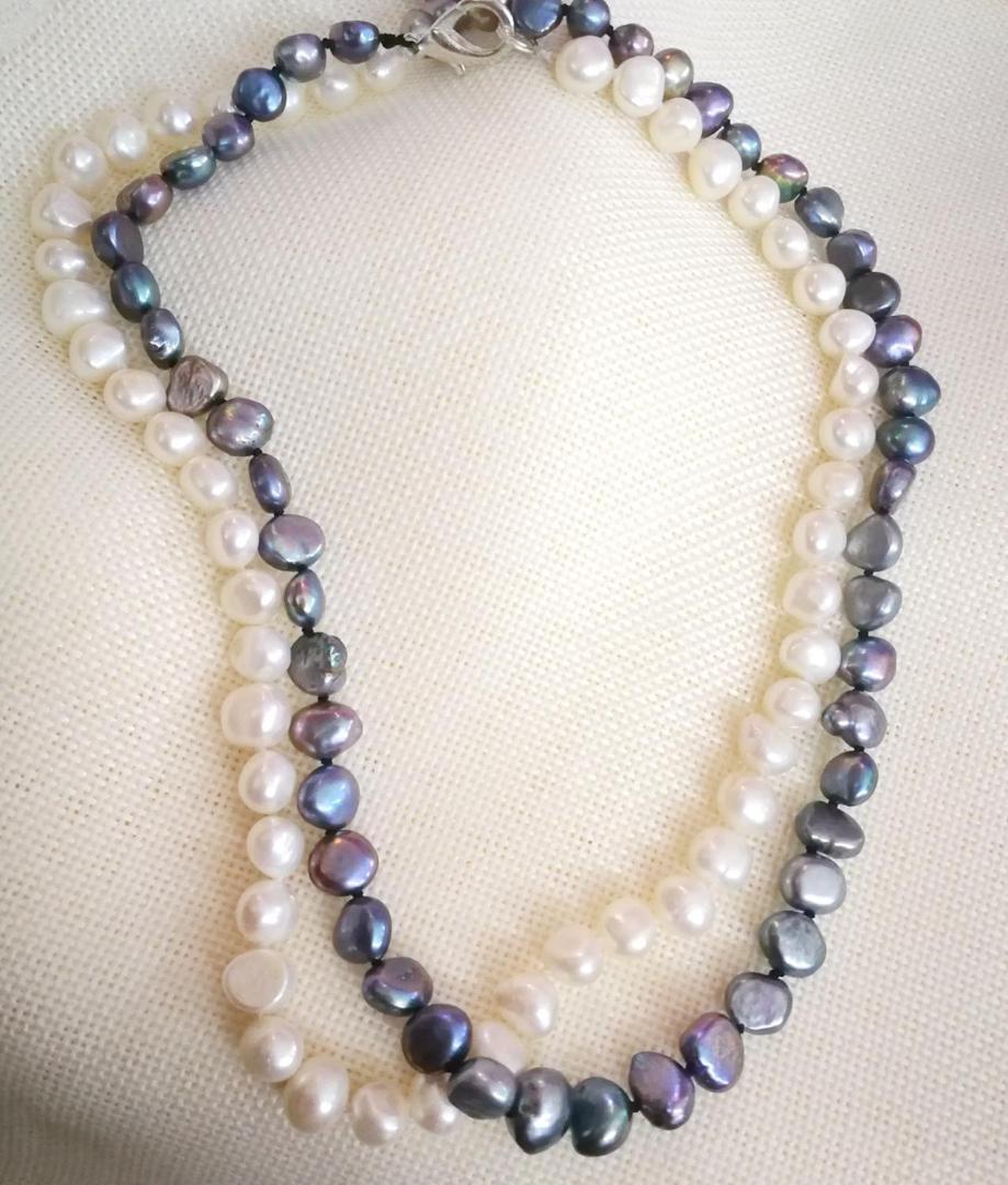 """16/"""" Pouces tour de cou Véritable 9-10 mm rond noir Collier de perles de culture d/'eau douce"""