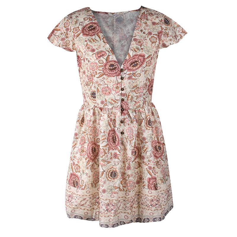 Forefair Retro Boho Dress Mini Summer (4)