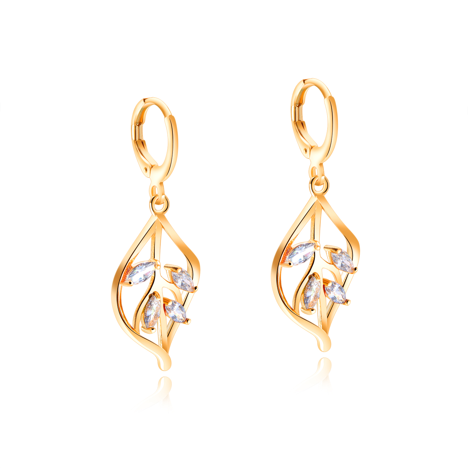 Anni Coco Women Lady Girl Dangle Earrings For Gift White Gold Plated Round Cut Cubic Zirconia CZ Link Drop Earrings