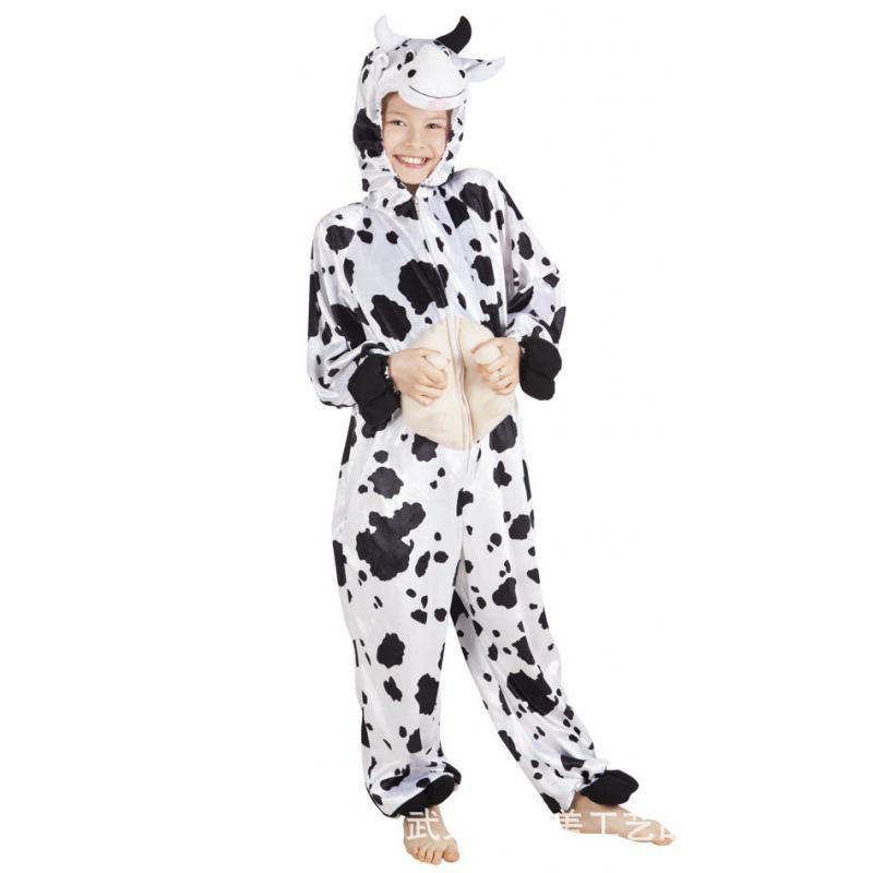 Carnival Adult Cow Performance Animal Clothes Costumes Stage Black And White Speckle Halloween Party Masquerade Cos Mascot Costume Show