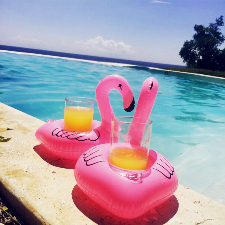 Pool Float Fun Flamingo Inflatable Pool Toy and Cup Holder Great for Pool parties Bath time Drink Holder and Decoration
