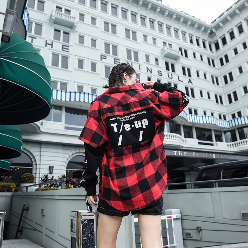 Red And Black Plaid Patchwork Shirt Men (27)