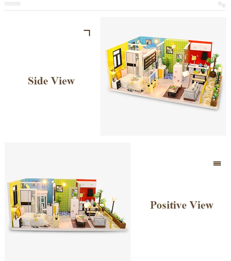 3D DIY Miniature Dollhouse Loft Building Model Wooden Handmade Dollhouses Assemble Kits Doll House with Furnitures Toys (5)