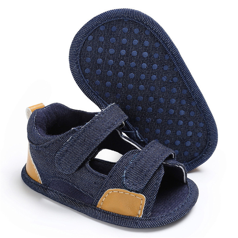 Summer Baby Shoes For Boys Girls Toddler Infant Kids Baby Boys Girls Solid Canvas Sole Crib Shoes Anti-slip Sandals Shoes M8Y11 (15)