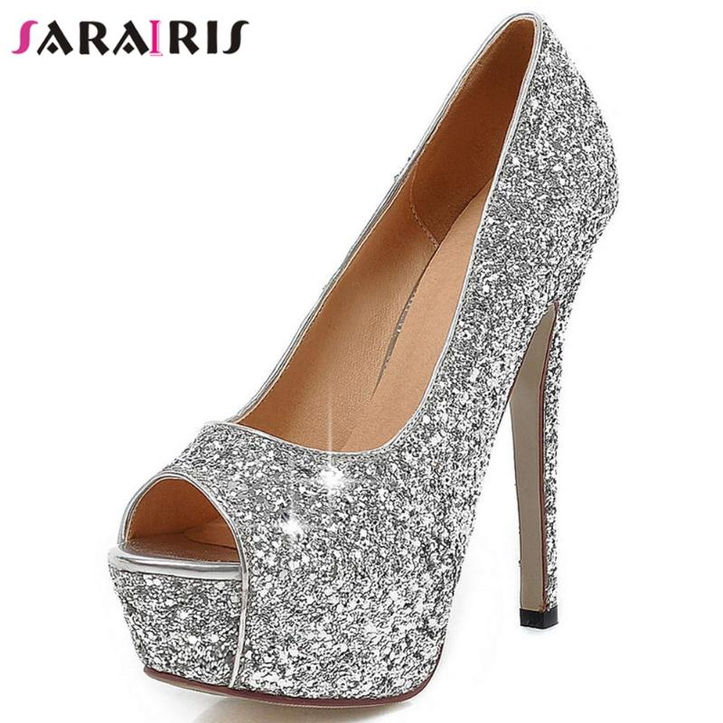 HuWang Champagne Women Sandals Bandage Ankle Strap Crystal Pumps Super High Heels 10 cm Square Lady Shoes