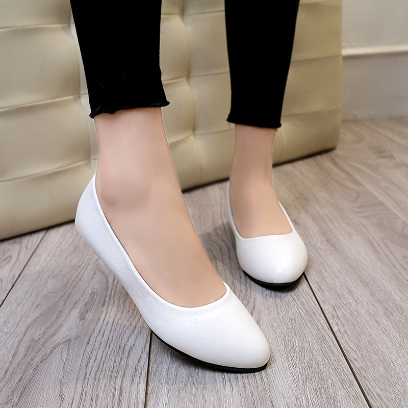 Dress Shoes Spring Autumn Woman Wedding Low Heels For Women Boat Leather Black Slip on zapatos mujer 61h53
