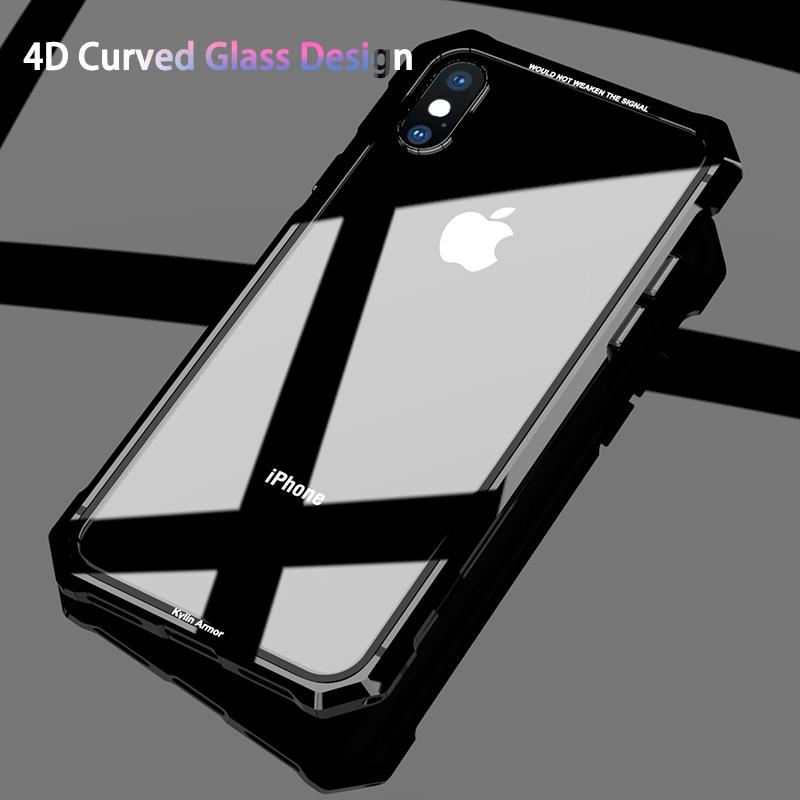 Pour iPhone X 7 8 Plus Case Black Protective Aircraft Bumper Metal Vis Etui de téléphone portable avec Transparent Retour Verre Trempé