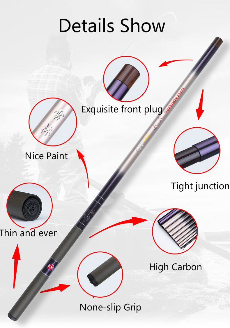 Portable Stream Rod Power Hand Fishing Rod 3.6 /4.5/ 5.4/6.3/ 7.2M Ultra Light High Carbon Super Hard Fishing Pole Canne Olta Fish Tackles