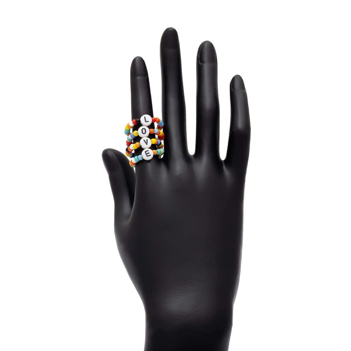 Newest Fashion Jewelry Creative Love Letter Ring for Girls Colorful Acrylic Cluster Rings Handmade