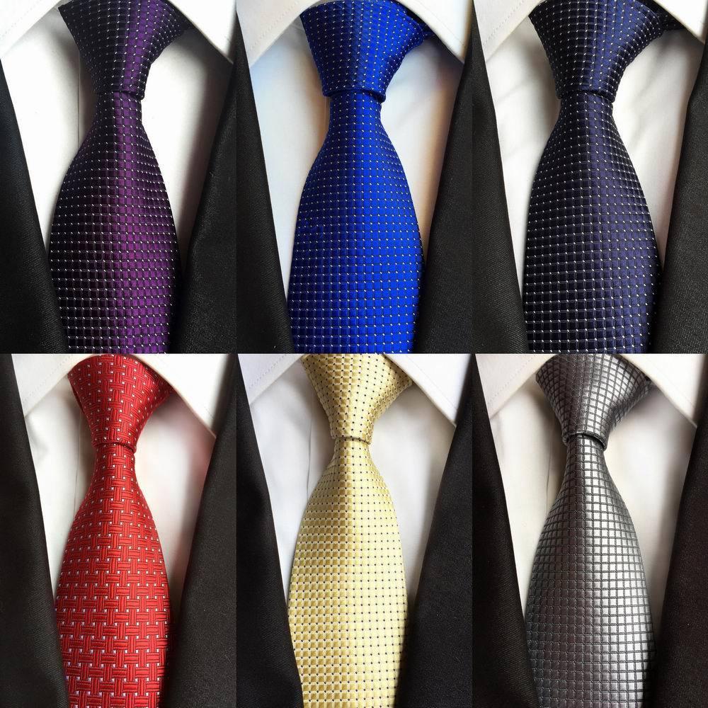 New Classic Dot Blanc Bleu Clair Rouge Jacquard Tissé 100/% Soie Hommes Cravate Cravate