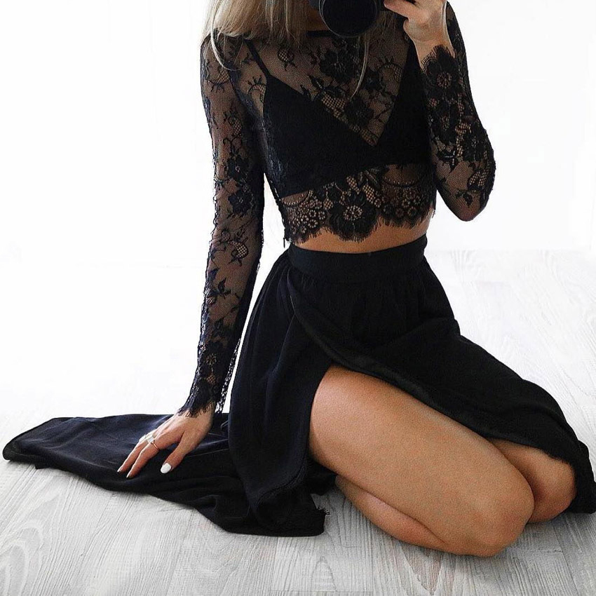Sexy Women Sheer Floral Blouse O-neck Long Sleeve Mesh Lace Crop Spring See-through Shirt Top Clubwear Black/white Q190507