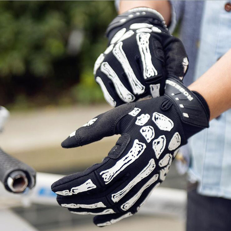 Women Men Full Finger Gloves Cycling Bicycle Motorcycle Gloves Skull Bone