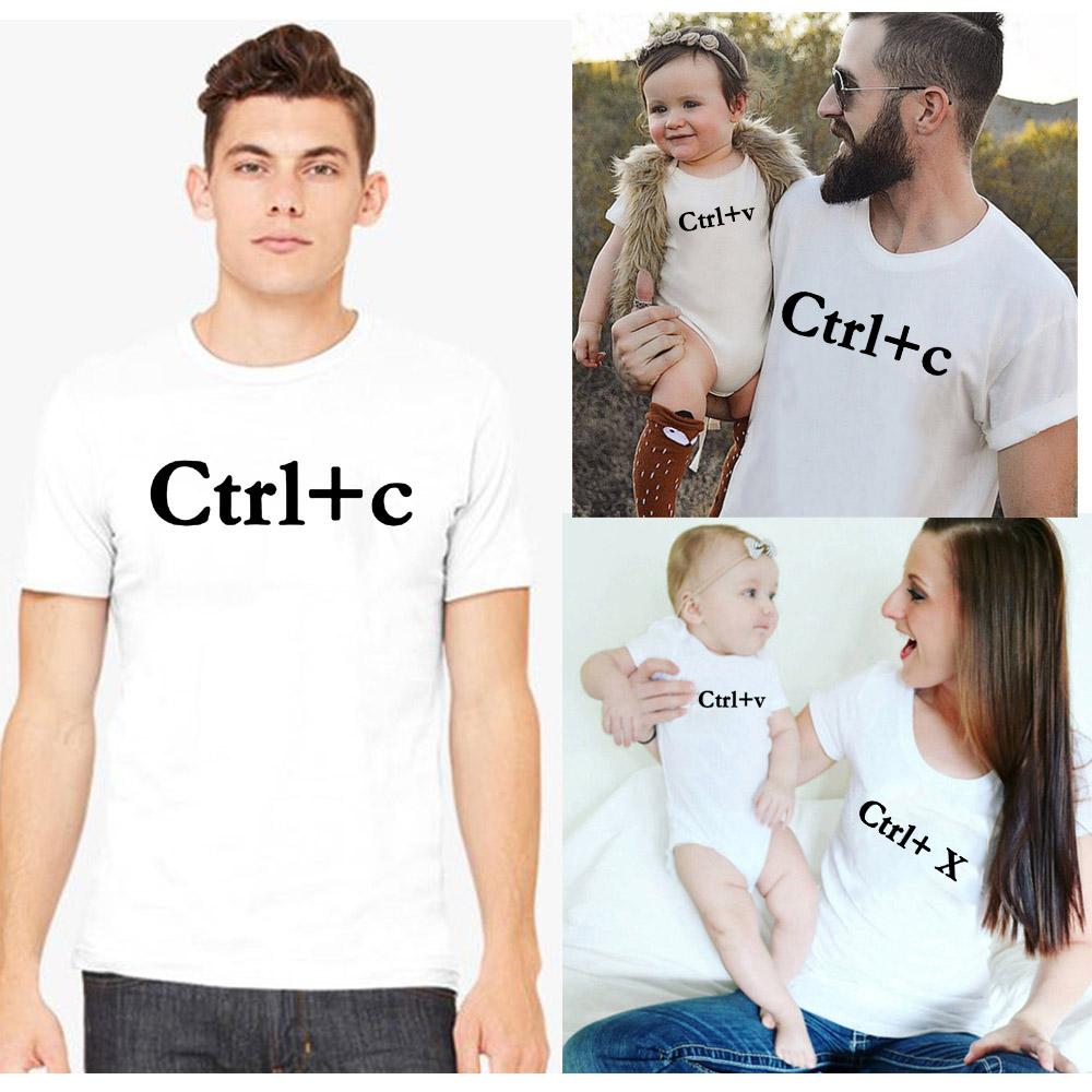 COPPIA di famiglia papà mamma bimbo bambino Abiti abbinati Cotone T-shirt Tee Tops Vestiti