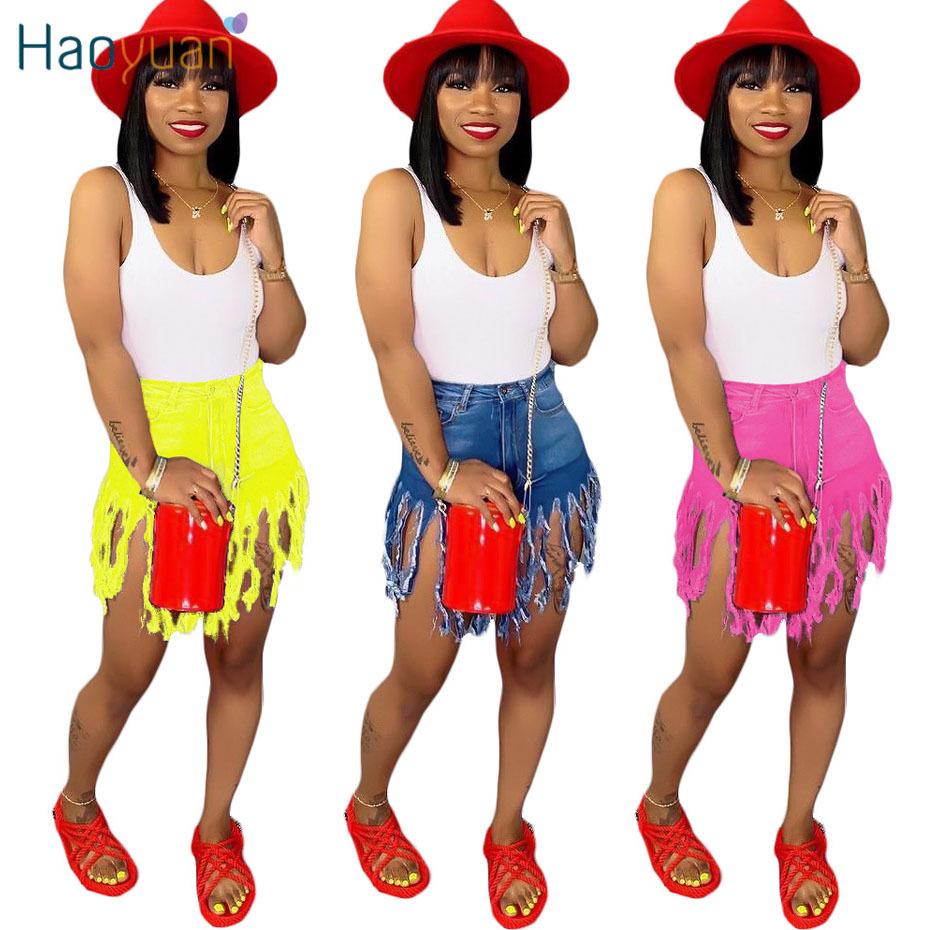 Haoyuan Plus La Taille Tassel Casual Denim Shorts Femmes Élastique Taille Haute Court Jeans D'été Streetwear Neon Jaune Biker Shorts Y19072001