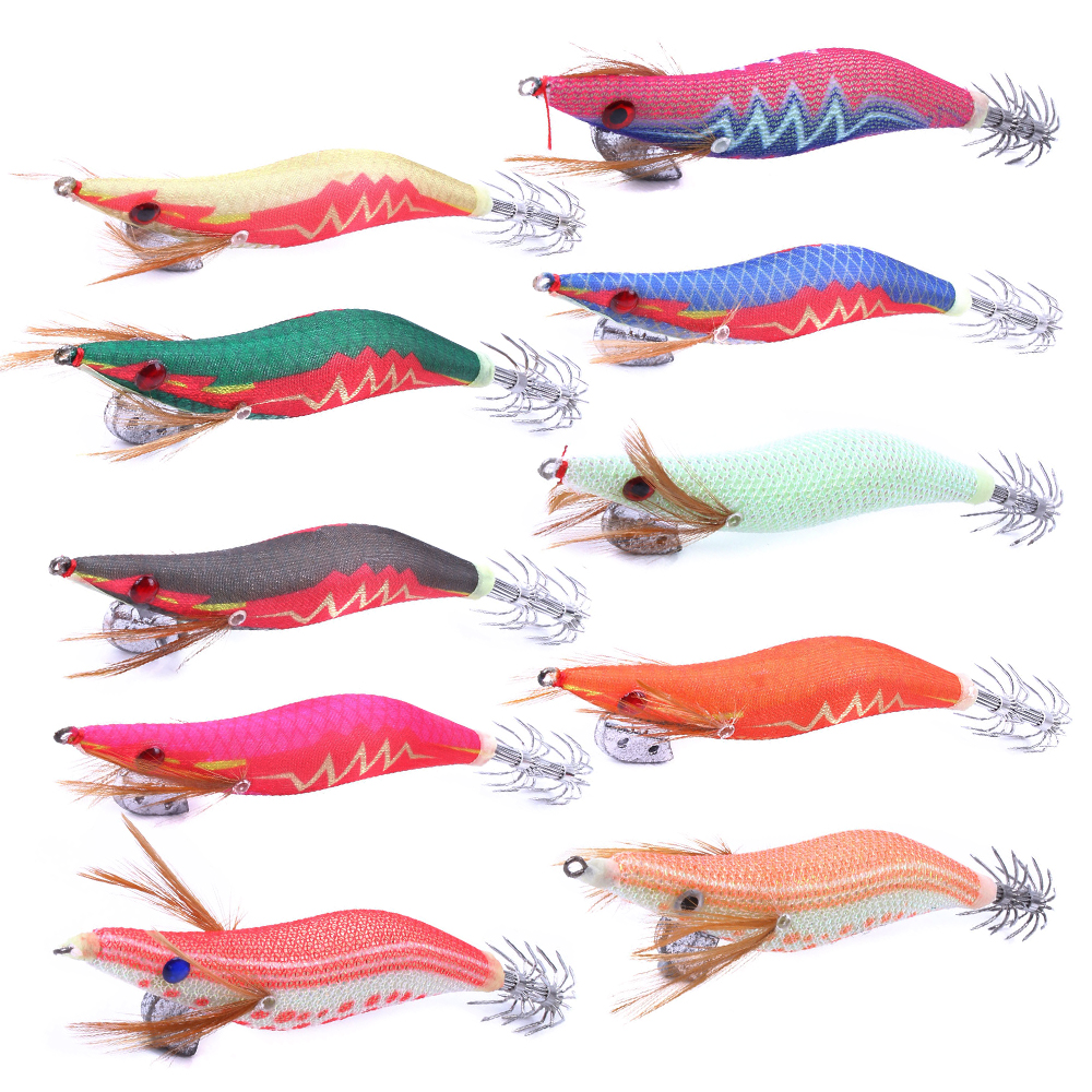 wholesale Glow At Night Fishing Lure Set Squid Jigs Artificial Fishing Lures Squid Hooks Wood Shrimp Fishing Bait for pesca
