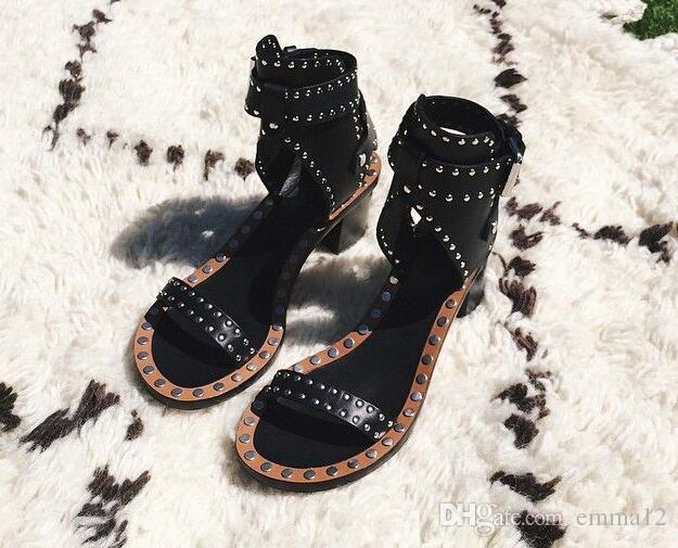 Celebrity Rome Vintage Pumps Casual Shoes Spike Studded Wooden Block Heel Sandels Rivet Crystal Open Toe Gladiator Sandals Women
