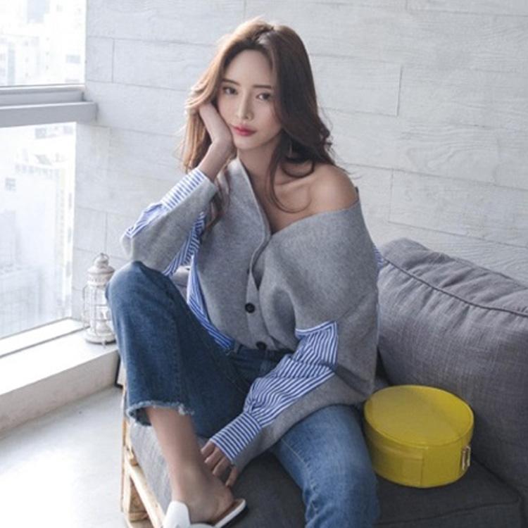 Superaen Style Coréen Femmes Chandail Automne Et Hiver 2018 Nouveau Col En V Dames Chandail Rayures Lâche Sauvage Vêtements Pour Femmes S19802