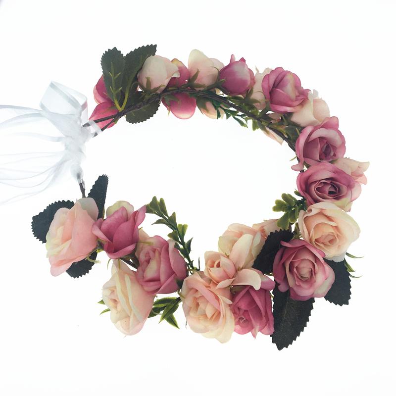 Korea Style Wedding Flower Hairband Headband Boho Floral Crown Garland Beach TK