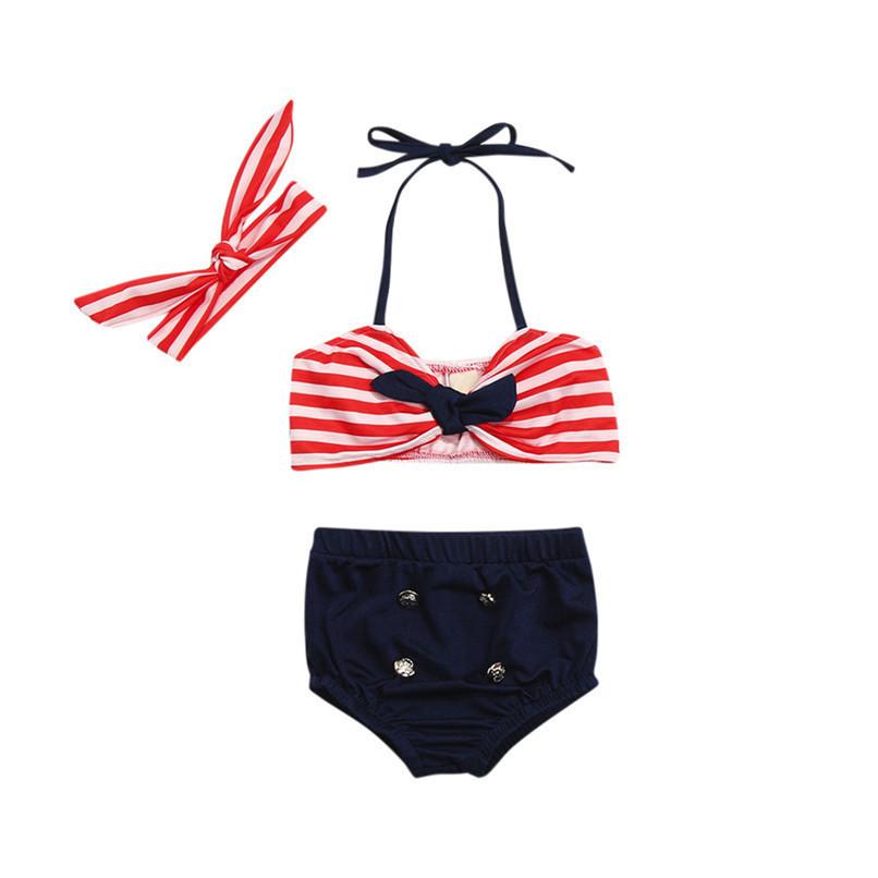 3Pcs Baby Girl Swimwear Infant Kids Baby Girls Straps Bow Tops+Button Shorts+Headband Swimwear Beach Swimsuit Bathing Set M8Y17 (5)