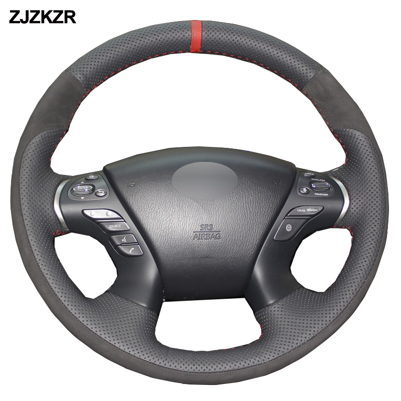 MEWANT Hand-Stitched Black Artificial Leather Steering Wheel Cover Wrap for Infiniti G25 G35 G37 2007-2013 EX35 EX37 2008-2013 Q40 Q60 2014 2015 QX50 2014-2018 Accessories Protector