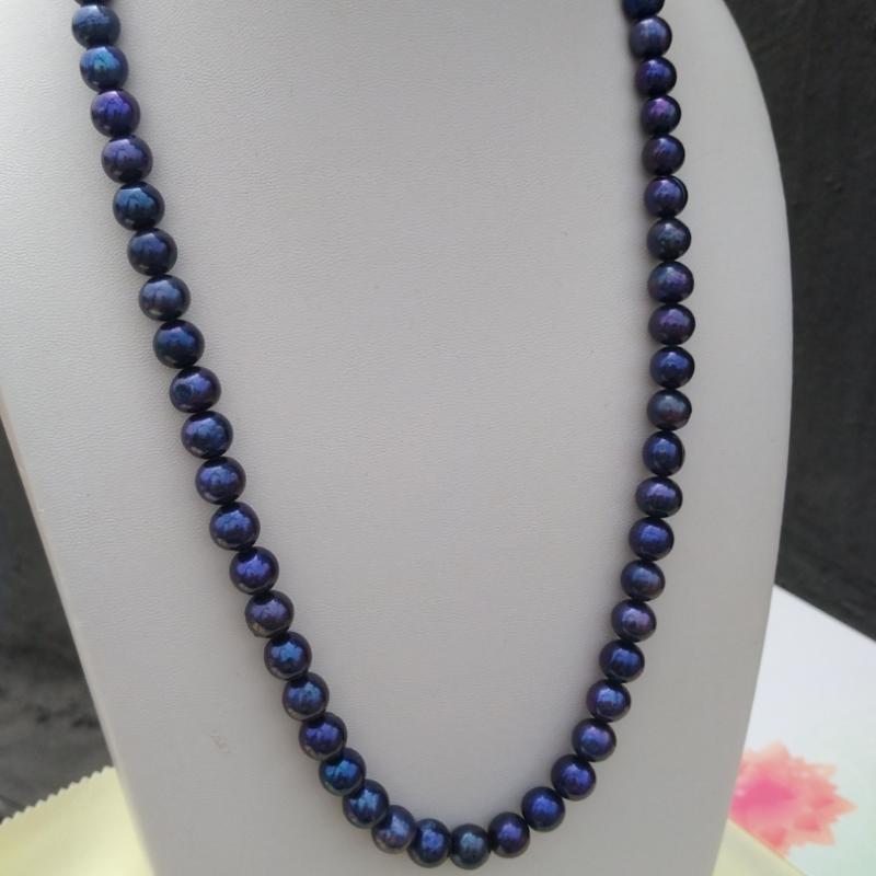 collier perle bleu tahitien