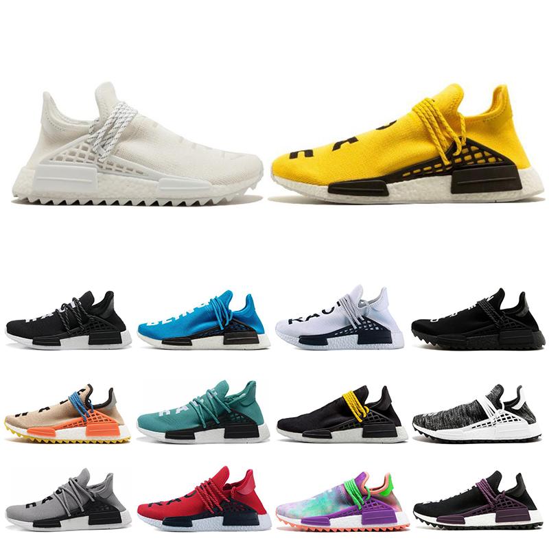 Adidas nmd human race Hot vente humaine race Hu sentier pharrel blanc bleu hommes femmes chaussures de course Holi noir nerd formateurs jaunes