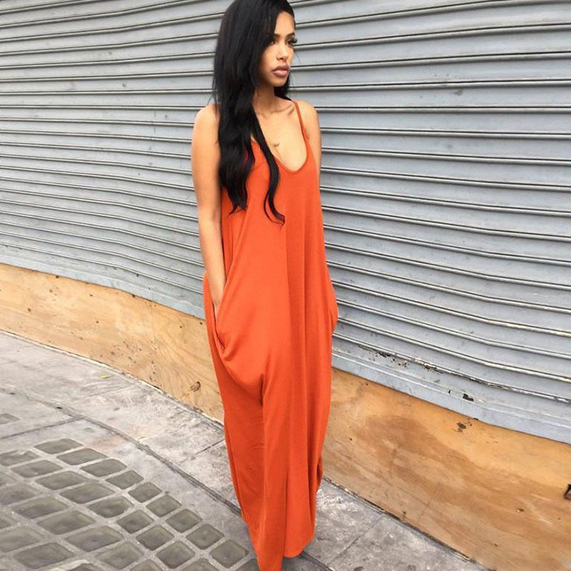 Sexy Womens Solid Color Maxi Dresses Female Spaghetti Strap Summer V Neck Dresses with Pockets Free Shipping_2
