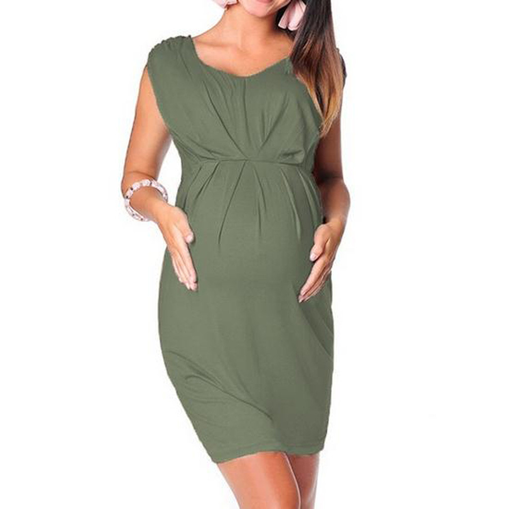 Women Maternity Dresses For Baby Showers Solid Casual Elegant Tank Summer Nursing Dress Pregnancy Clothes Vetement Femme 19jun13